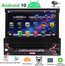 1 Din Radio Android 10 Single Din Car Stereo Bluetooth 7 inch Flip Out Touch Screen 1080P..