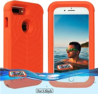 Temdan iPhone 8 Plus / 7 Plus / 6s Plus/ 6 Plus Floating Case with 0.2mm Clear&Thin Waterproof Bag Lifejacket Case for iPhone 8 Plus / 7 Plus / 6s Plus/ 6 Plus (5.5inch) -Orange