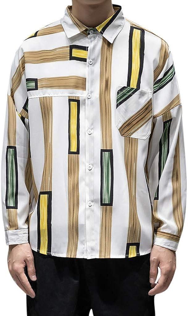 Gergeos Shirt for Men Plus Size Fashion Striped Shirt Long Sleeve Casual Button Down Shirts