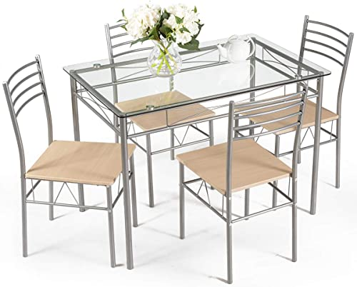 discount Giantex 5 Piece Dining Table Set, Kitchen Dining Set with Tempered Glass Table Top and 4 online Chairs, Dinette Set for 2021 4 for Breakfast Dining Room Kitchen online