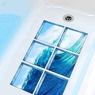 AIEOE 3D Tub Appliques Anti Slip Safe Bathtub Decals Waterproof Adhesive Tub Tattoos Removable Shower Tub Stickers PVC Non Slip Tub Appliques Wave 6PCS