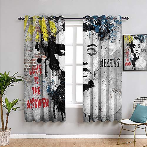 Pcglvie Cortina de graffiti linda cortina, 160 cm de largo para pared, arte juvenil subterráneo, fácil de instalar, 132 cm de ancho x 163 cm de largo