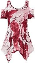 VESKRE Women's Plus Size Asymmetrical Hem Tie-Dyed Off Shoulder Short Sleeve Tops Blouse