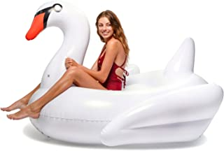 Floatie Kings: White Swan Party Pool Float | Giant Premium Inflatable, Ride-On, Summer Pool or Beach Fun, Strengthened PVC Fabric, Includes Patch Kit