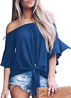 371c877472 CILKOO Women's Striped 3/4 Bell Sleeve Off The Shoulder Front Tie Knot T  Shirt