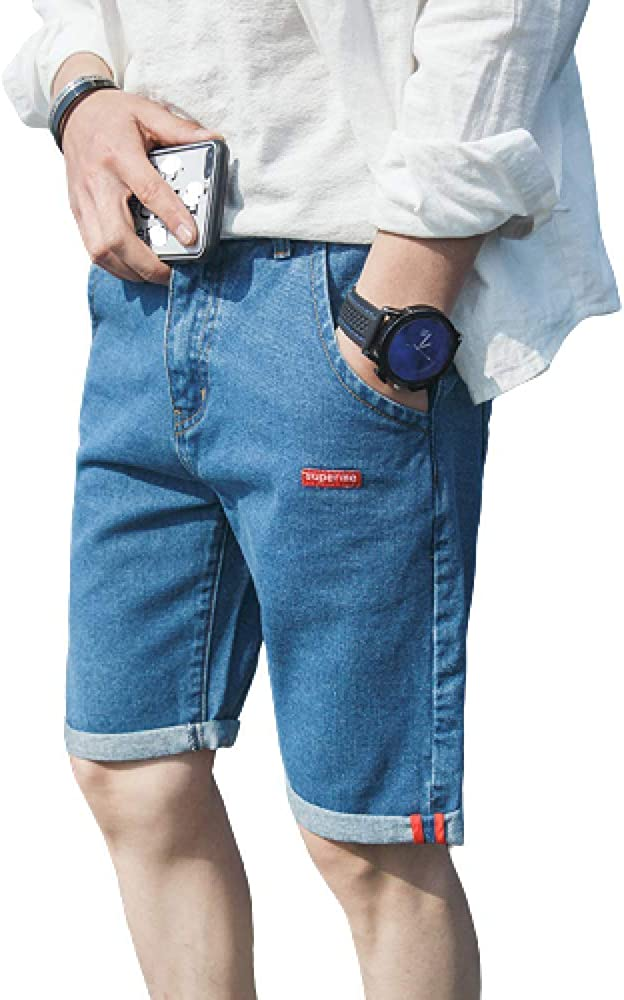 brandless Men's Jeans Shorts Loose Loose Straight Solid Color Fashion Student Pants Light Blue
