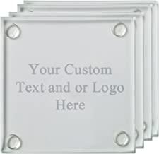 ANY TEXT, Custom Customized Engraved Glass Coaster, Set of 4 - Custom Picture Personalized Laser Engraved Text Customizable Gift