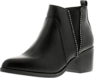 Sprox Faux Leather Side Zip Elastic Metal Studded Detail Ankle Heel Boots with Pull Tab For Women