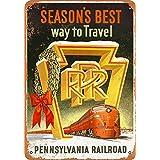 SUDISSKM ブリキ看板1955ペンシルベニア鉄道クリスマスホリデー旅行PRRコレクティブルウォールアート