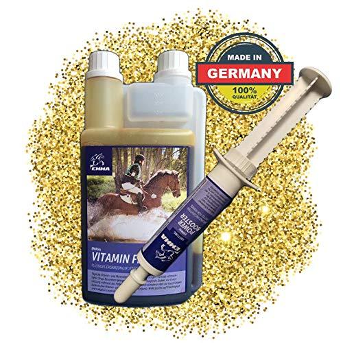 EMMA® Vitamine Vloeistof plus Booster I SPARSET I B Vitaminen voor het paard, B12, B6, B2, B1 I Vitamine E, A, D Selenium, zink, mineralen 1 Booster 30 ml + 1 L