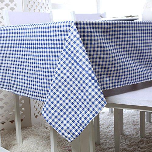 Nappe multi-formats Multifonctions Housse en coton et lin Grille bleue , 140x200cm