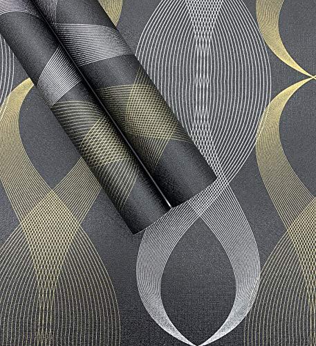 Geometric Wallpaper Black Modern Stripe Peel and Stick Wallpaper Self Adhesive Removable Waterproof...