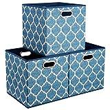 Caja de almacenamiento HSDT, 33x33x33cm, tela PET azul claro, plegable, con 2...