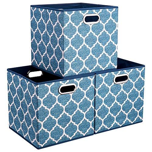 HSDT Aufbewahrungsbox, Creme | Marineblau, faltbar, Stoff, 33x33x33cm, mit 2 Metallgriffen, kompatibel mit 33cm Cube Organizer, (3er-Set) QY-SC02-3