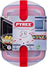 Pyrex Cook and Heat Oven Dish Set (4-Piece Set), Airtight, BPA Free-lid with Sliding valves and Locking Clip, 2.5L & 0.8L