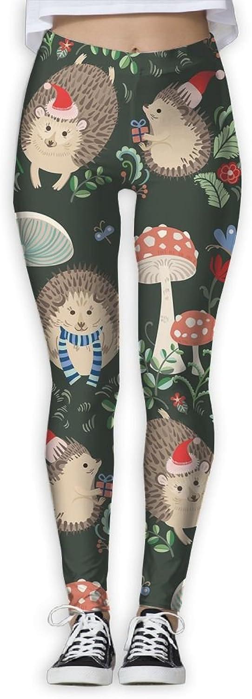 Hedgehog Mushroom Women Power Flex Sports Yoga Pants Workout Tights Leggings Trouser
