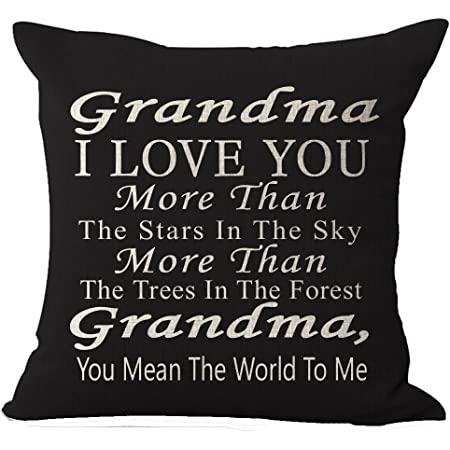 Best Gift Grandma I Love You More Than The Stars In The Sky You Mean The World To Me Blessing Cotton Linen Throw Pillow Case Cushion Cover Home Office Decorative Square