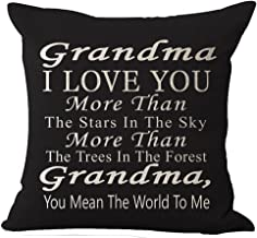 Best Gift Grandma I Love You More Than The Stars in The Sky You Mean The World to Me Blessing Cotton Linen Throw Pillow Ca...