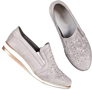 Tricherry Women Comfortable Slip-on Sneaker Shoes Wedge Heel Breathable for Hiking Shopping Travel, Europe and The United States Wind Slope with Rhinestone Female Large Size Casual Shoes New