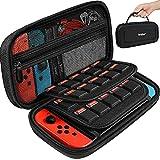 iVoler Funda de transporte para Nintendo Switch con 2 protectores de pantalla, funda rígida portátil , bolsa de viaje para Nintendo Switch Console con capacidad para 20 cartuchos de juego