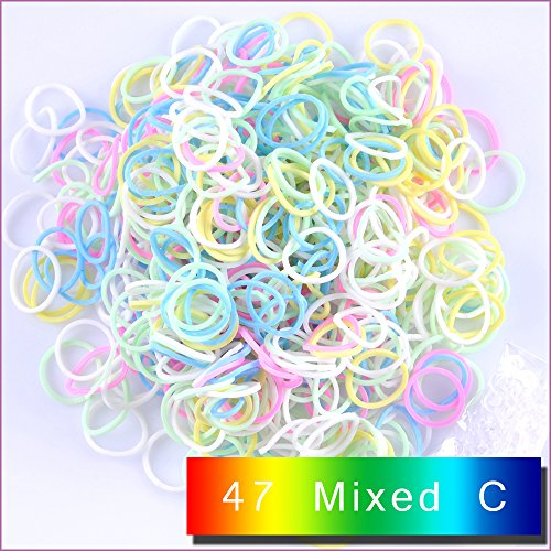 Kirinstores (TM) 600 gomas elásticas y 24 cierres, recambios para loom arco iris, para hacer pulseras y vestidos.
