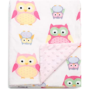 BORITAR Baby Blanket Soft Minky with Double Layer Dotted Backing, Lovely Pink Owls Printed 30 x 40 Inch, Receiving Blankets