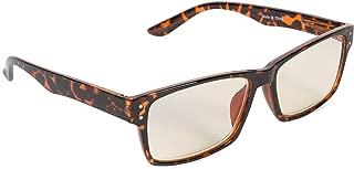 Inner Vision Eye Strain Relief Computer Screen Glasses w/Case - Anti Blue Light, Anti Glare, Scratch Resistant, Spring Hinges - Unisex, (Non-Prescription), Brown Tortoise