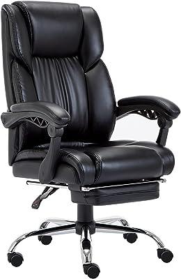 オフィスチェア レザー デスクチェア フットレスト付き 社長椅 事務椅子 肉厚クッション 135度リクライニング ワークチェア ハイバック 昇降回転 静音キャスターイス 在宅勤務 おしゃれ (ブラック1)