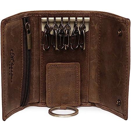 BestFire Slim Compact Leather Key Holder Wallet Pouch Retro Genuine Leather Handmade Three-Fold Keychain Key Case Bag Leather Car Key Case with 6 Hooks & 1 Car Key Hook Men Women (Brown)
