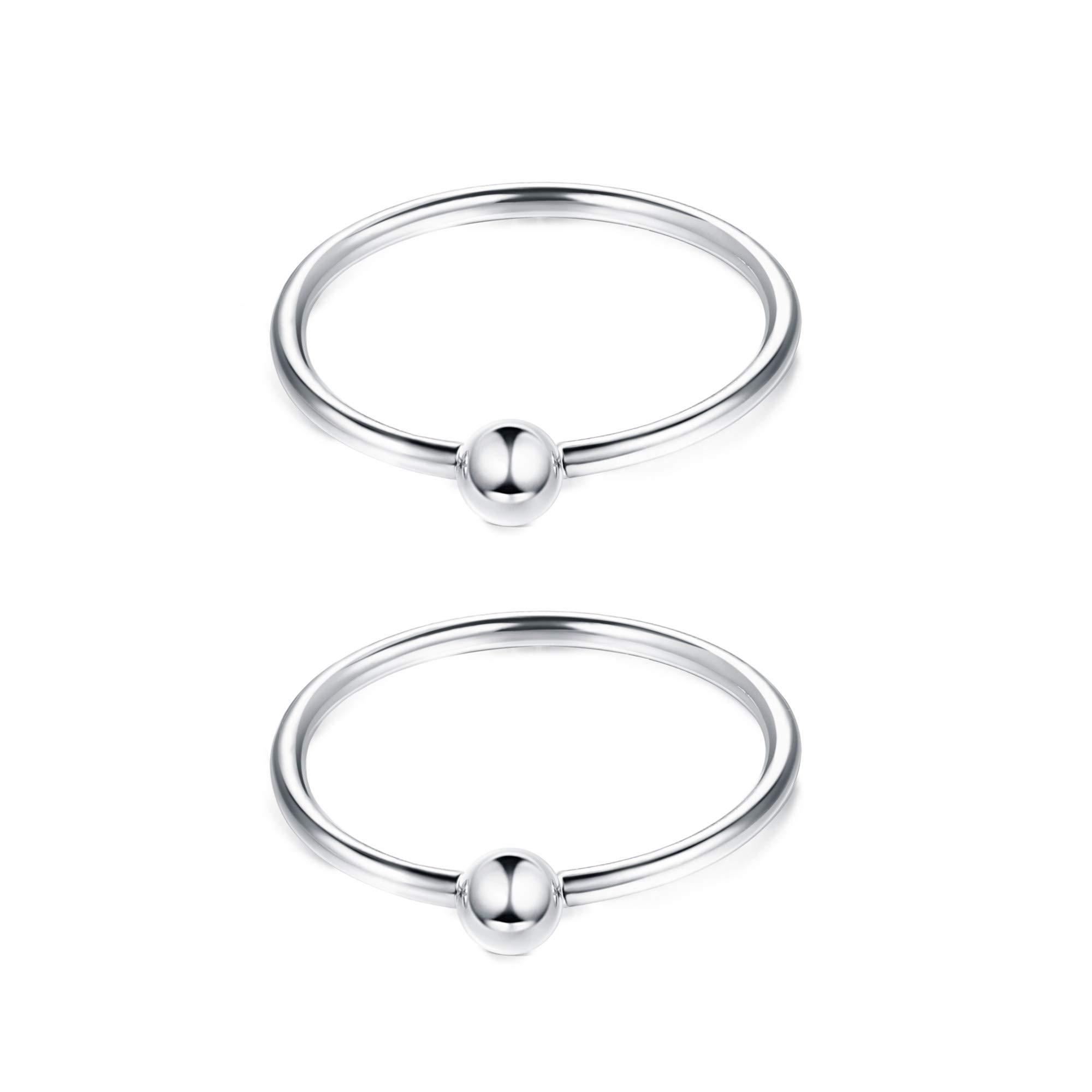 Sllaiss 0.6MM Small Bead Nose Rings Hoop for Women Men 925 Sterling Silver Hoop Cartilage Earrings Body Piercing