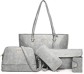 AlwaySky Handtaschen-Set für Damen 5er Pack Tote Geldbörse Handtaschen Set PU-Leder Umhängetasche