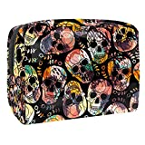 Bolsa de Maquillaje Calavera gótica Punk Neceser de Cosméticos y Organizador de Baño Neceser de Viaje Bolsa de Lavar para Hombre y Mujer 18.5x7.5x13cm