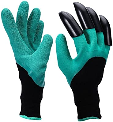 Claws Garden Gloves - 1Pair with 4 Fingertips Claws Quick & Easy to Dig and Plant Safe for Rose Pruning, Digging & Planting Nursery Plants,Best Gift Gardening Tool (Green)