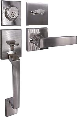 Front Door Handle Set (Satin Nickel Finish), Front Door Handle Set, Single Cylinder HandleSet with Lever Door Handle
