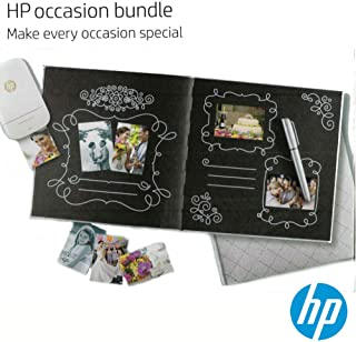 HP Official Hardcover Photo Album Photobook Scrap Book for Wedding, Special Occasions and Gift (Silver/Black) (Metallic Silver Pen Included)