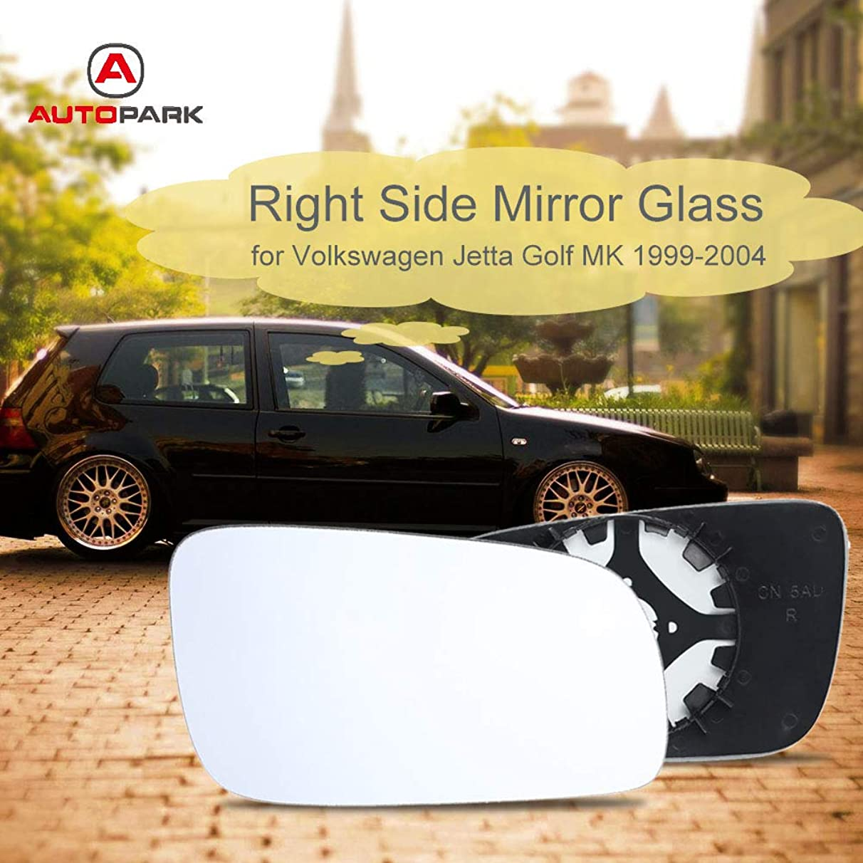 Star-Trade-Inc - White Car Style Right Side Mirror Heated Glasses for Volkswagen VW Jetta Golf MK4 1999-2004