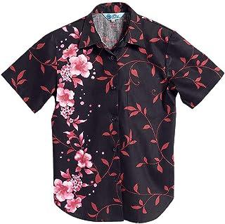 [MAJUN (マジュン)] 国産シャツ かりゆしウェア アロハシャツ 結婚式 レディース シャツ ラウンド裾 カタブイ