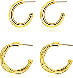 Sponsored Ad - FAMOKA Chunky Open Hoop Earrings Silver/Gold Plated High Polished and Twisted Lightweight Hoops for Women a...