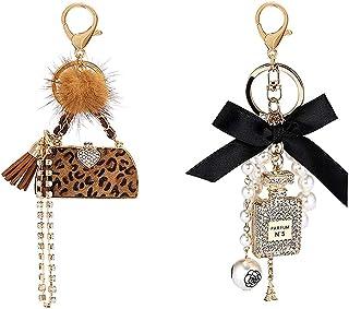 2 Pack Perfume Bottle Diamond Keychain and Leopard Keychain, Bow-Knot Pearl Handbag Personalised Keyring Golden Cute Keyri...