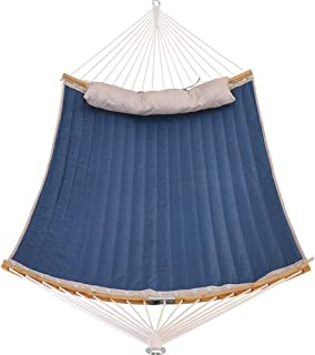 Patio Watcher 11 Feet Quilted Fabric Hammock with Curved-Bar Bamboo and Detachable Pillow, Double Hammock Perfect for Patio Yard Patio Yard Blue Stripes