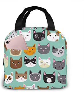 Cute Cats Lunch Tote Bag Cartoon Animal Zipper-Sealed Leak-Proof Portable Thermal Insulation Bag Front Pocket For Work Tra...
