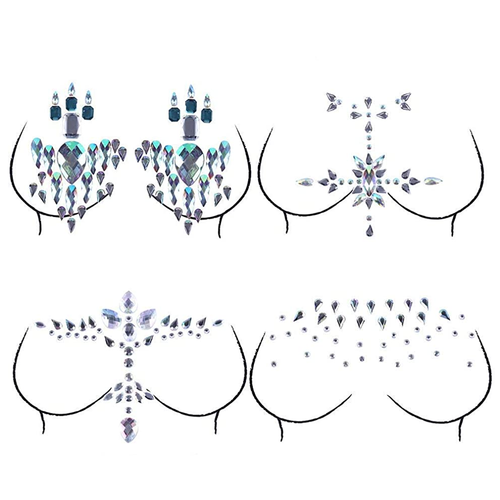 Xiangfeng Rhinestone Body Jewelry Stick on Crystal Nipple Sticker Temporary Tattoos Bindi Tears Tattoo Jewelry