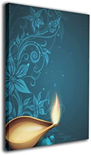 LAIUE Festive for Celebration in India 10 Deepavali Lamp Happy Deepawali Diya Hindu Hinduism Decor Canvas Prints Paintings On Canvas Wall Art Home Decor