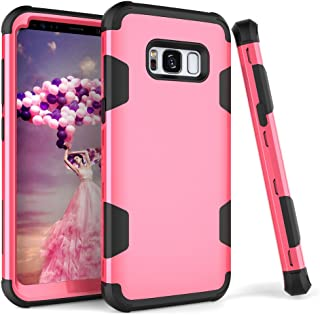 Samsung Galaxy S8 Case, VPR 3 in 1 Hybrid Cover Hard PC Soft Silicone Rubber Heavy Duty Shock Absorbing Protective Defender Case for Samsung Galaxy S8 (2017) (Rose+Black)