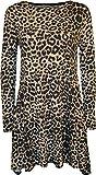 WearAll - Damen Leopard-Tierdruck-Langarm Ausgestelltes Top Swing-Kleid - Leopard - 40-42