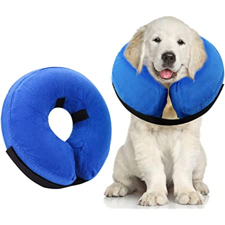 AhlsenL Inflatable Dog Cone Collar for After Surgery, Protective Soft Pet Recovery Collar Prevent Dogs Cats from Biting & Scratching