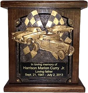 NWA Cremation Urn for Car Lovers, Wooden Funeral Urn with Engraving