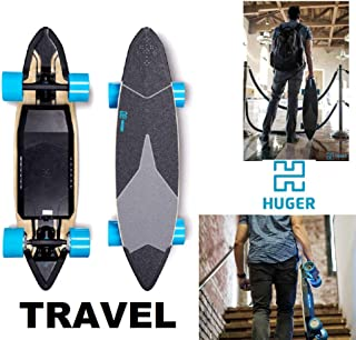 Huger Tech Travel Electric Skateboard 1160W Top Speed 20 MPH Range 22 Miles Fast & Powerful 38.25″.Dual hub Motors and an IPX6 Waterproof Bluetooth SMS606