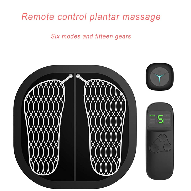 嬉しいですファイターバースEMSフットサーキュレーションマッサージ、多機能インテリジェントフットマッサージ、鍼治療のポイントを刺激、痛みを和らげ、疲労を軽減6モードUSB充電,Black