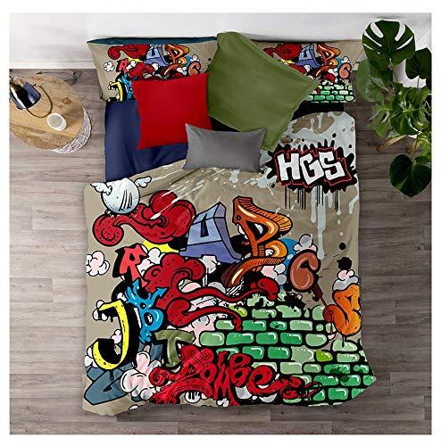Meet Juego De Cama Graffiti De Color Hip Hop Funda Nórdica Y Funda De Almohada 80% Microfibra + 20% Algodón con Cremallera Oculta (Estilo 03,(150x200cm)-Cama de 90)
